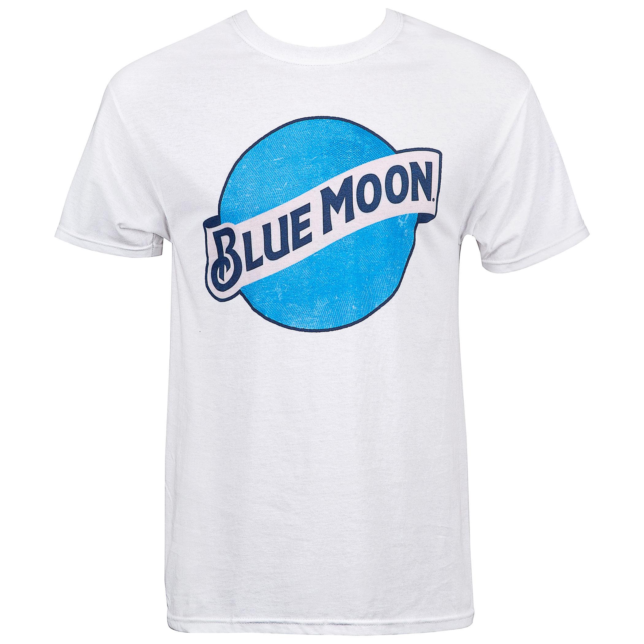 Blue Moon Beer Classic Logo Men's White T-Shirt