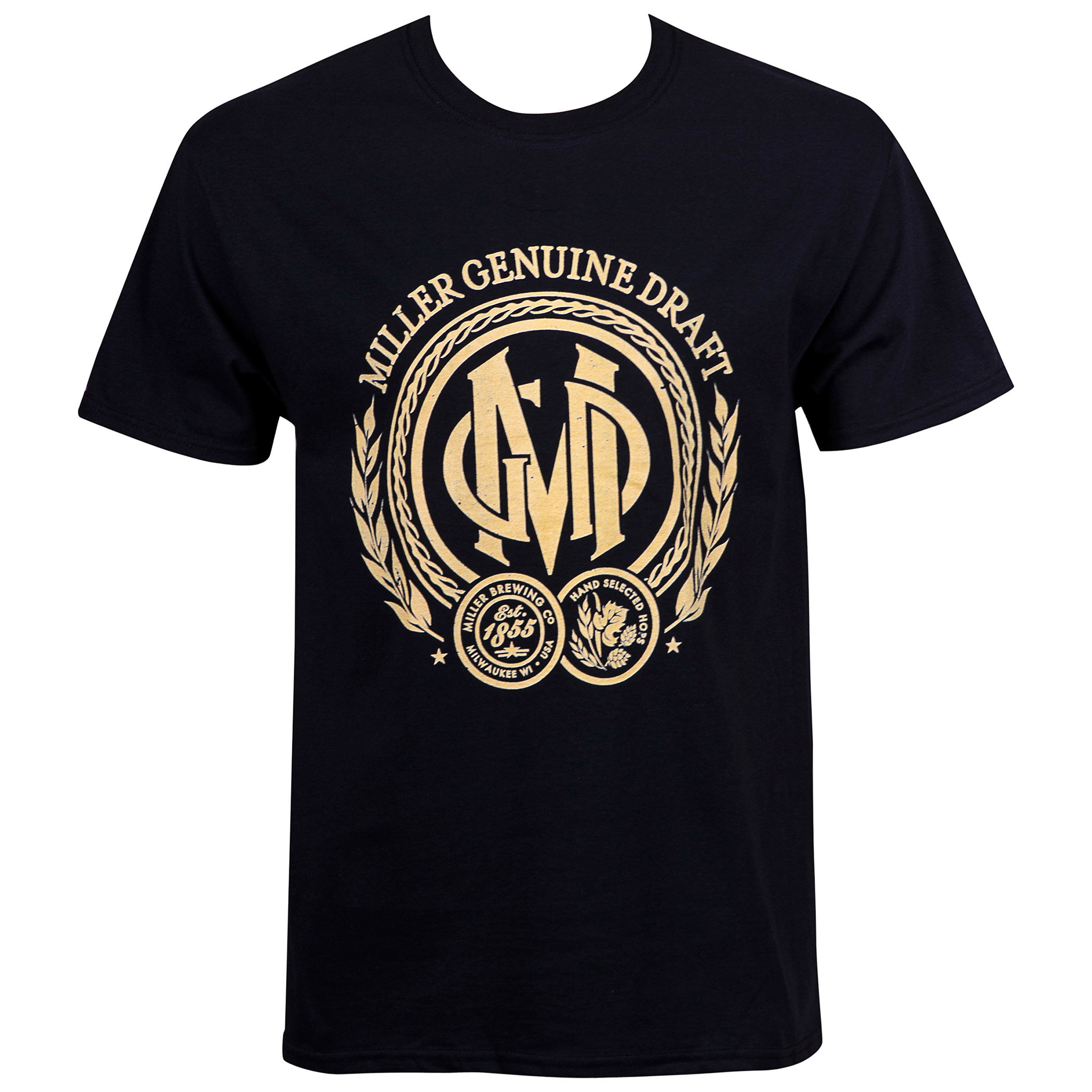 Miller Genuine Draft Beer Seal Men's Black T-Shirt