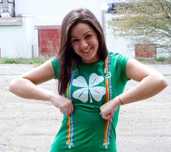 Shamrock Rainbow Suspenders Irish Green Juniors Graphic T Shirt