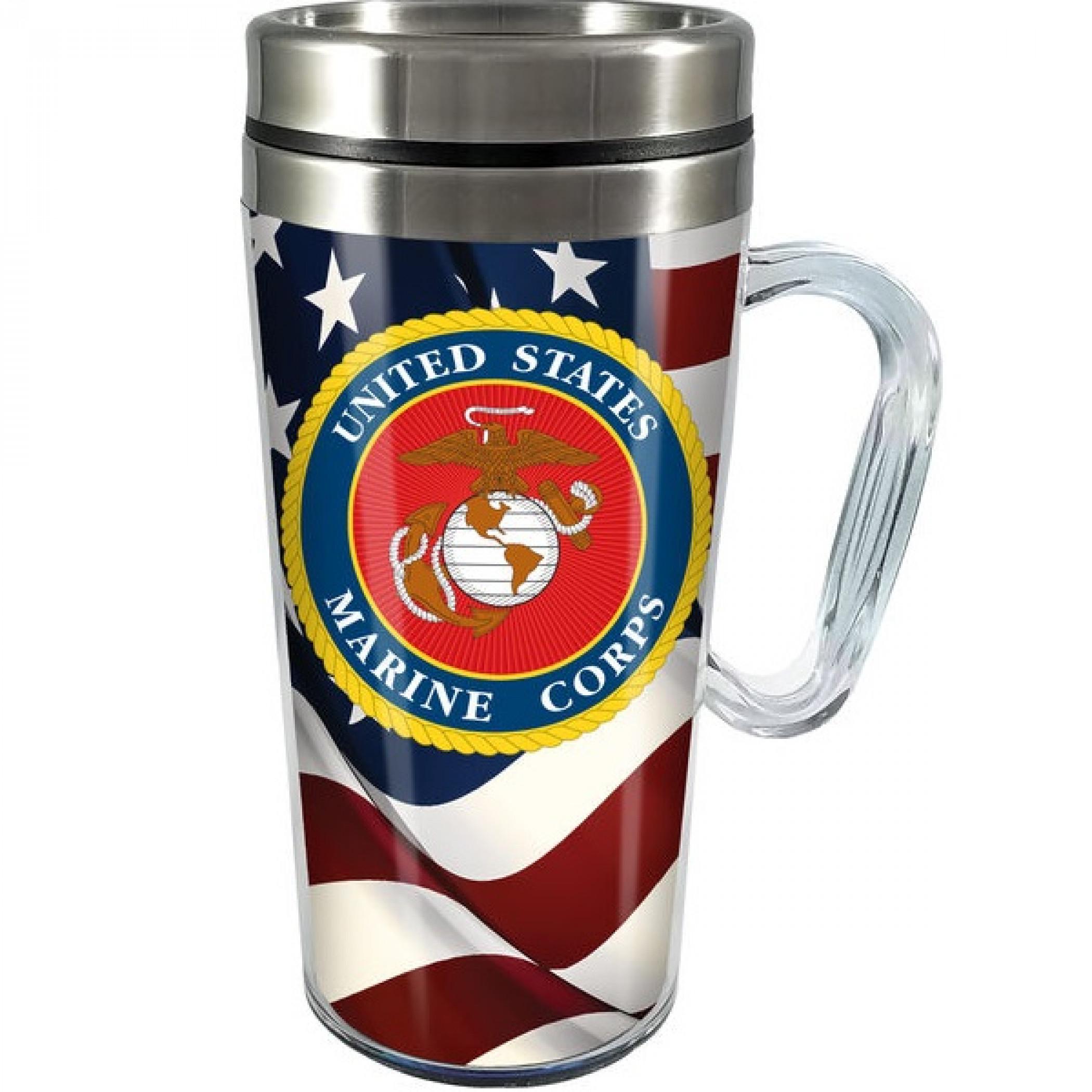 United States Marine Corps 14oz Stainless Steel and Acrylic Travel Mug