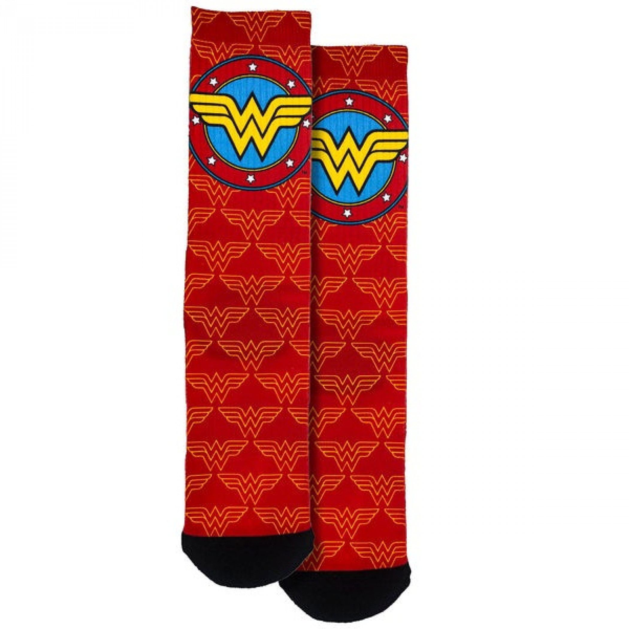 Wonder Woman Logo and Symbols All Over Crew Socks