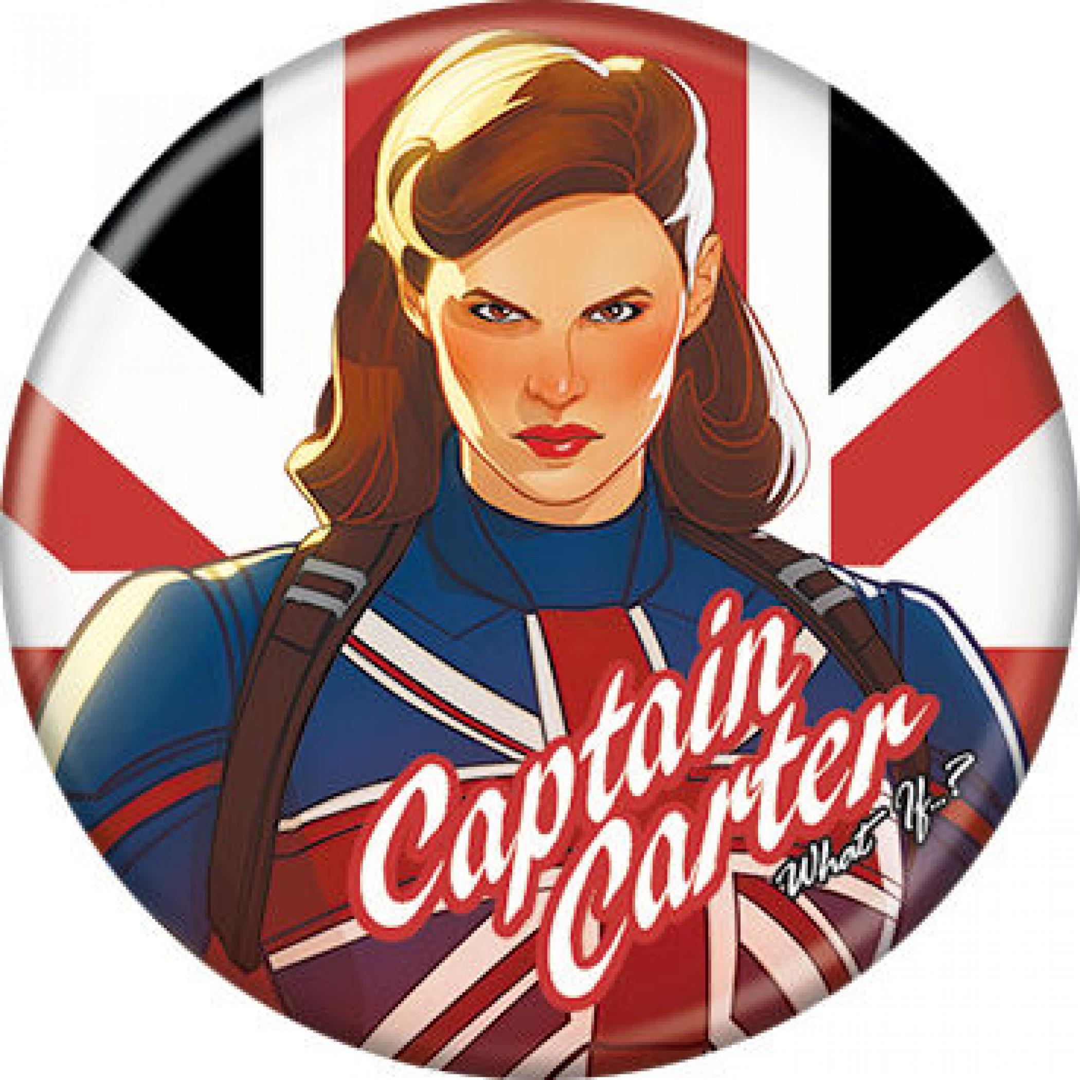 Marvel Studios What If...? Series Captain Carter & Text Logo Button