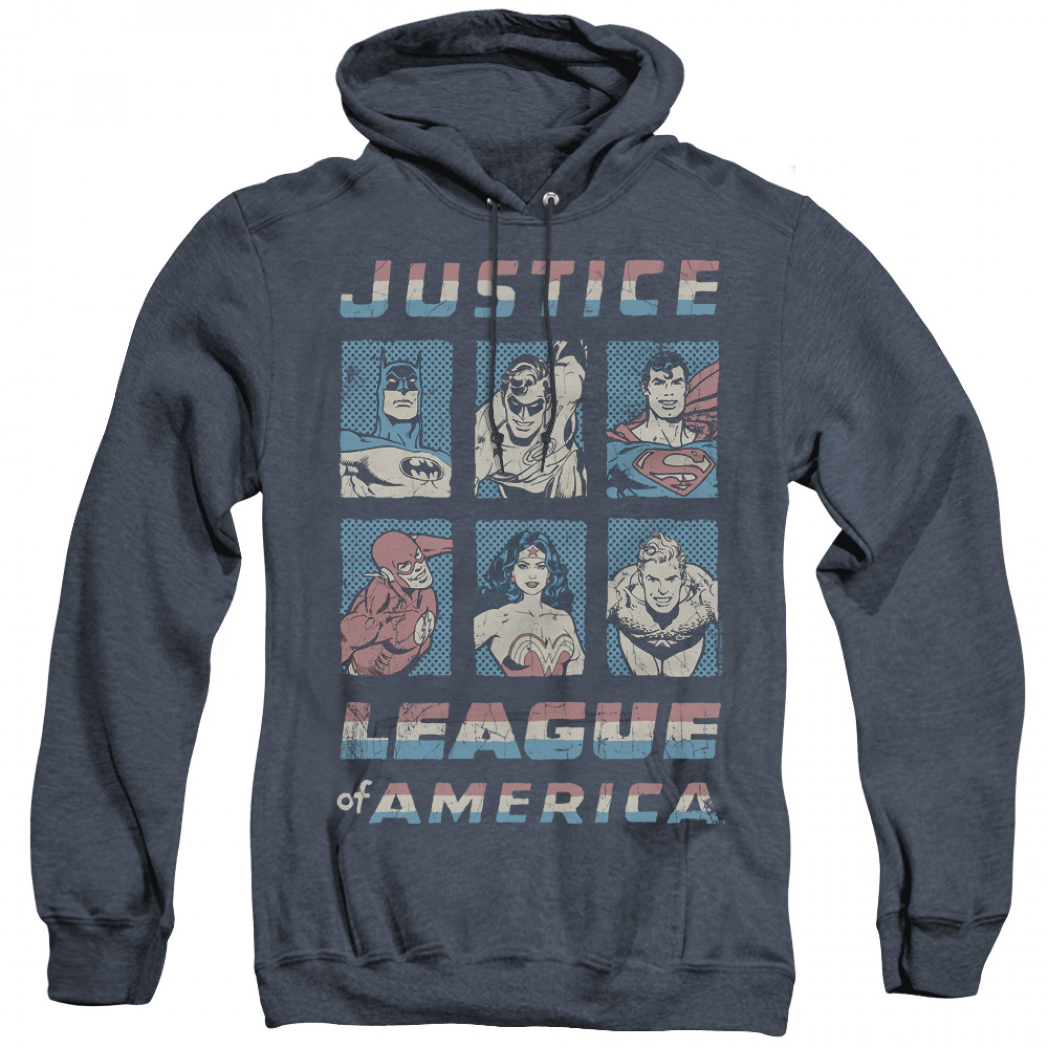 Justice League Boxes Men's Blue Hoodie