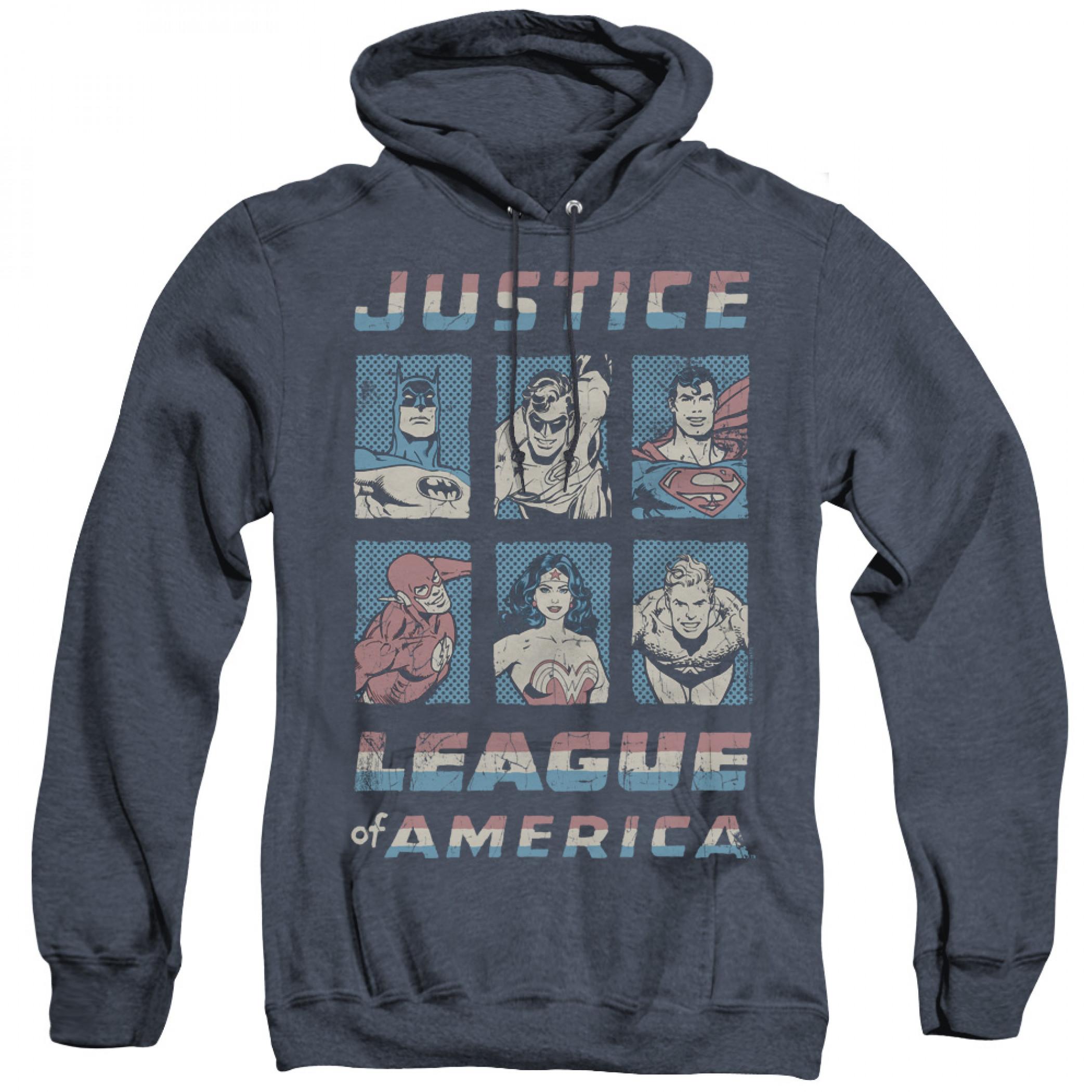 Justice League Boxes Men's Blue Hoodie