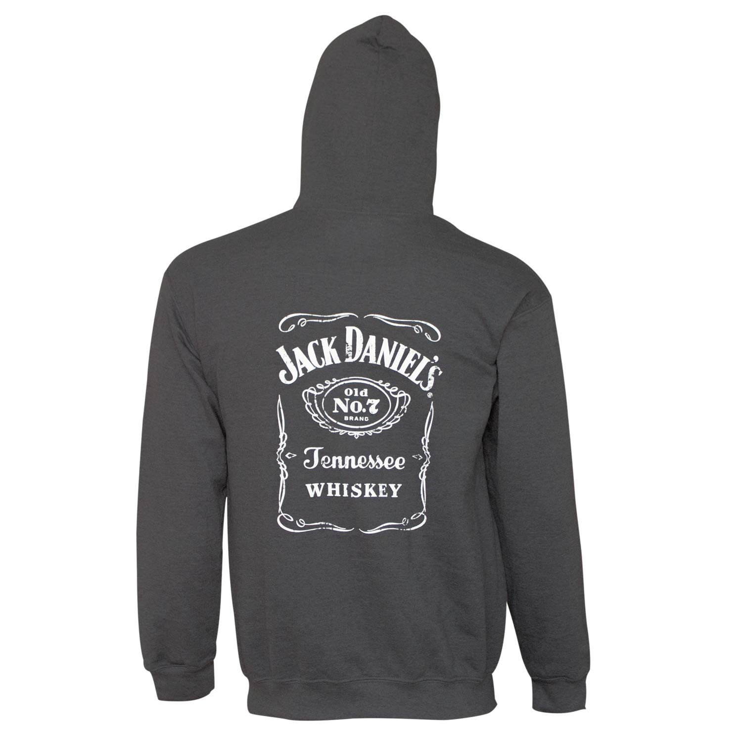 Jack Daniels Charcoal Bottle Label Hoodie