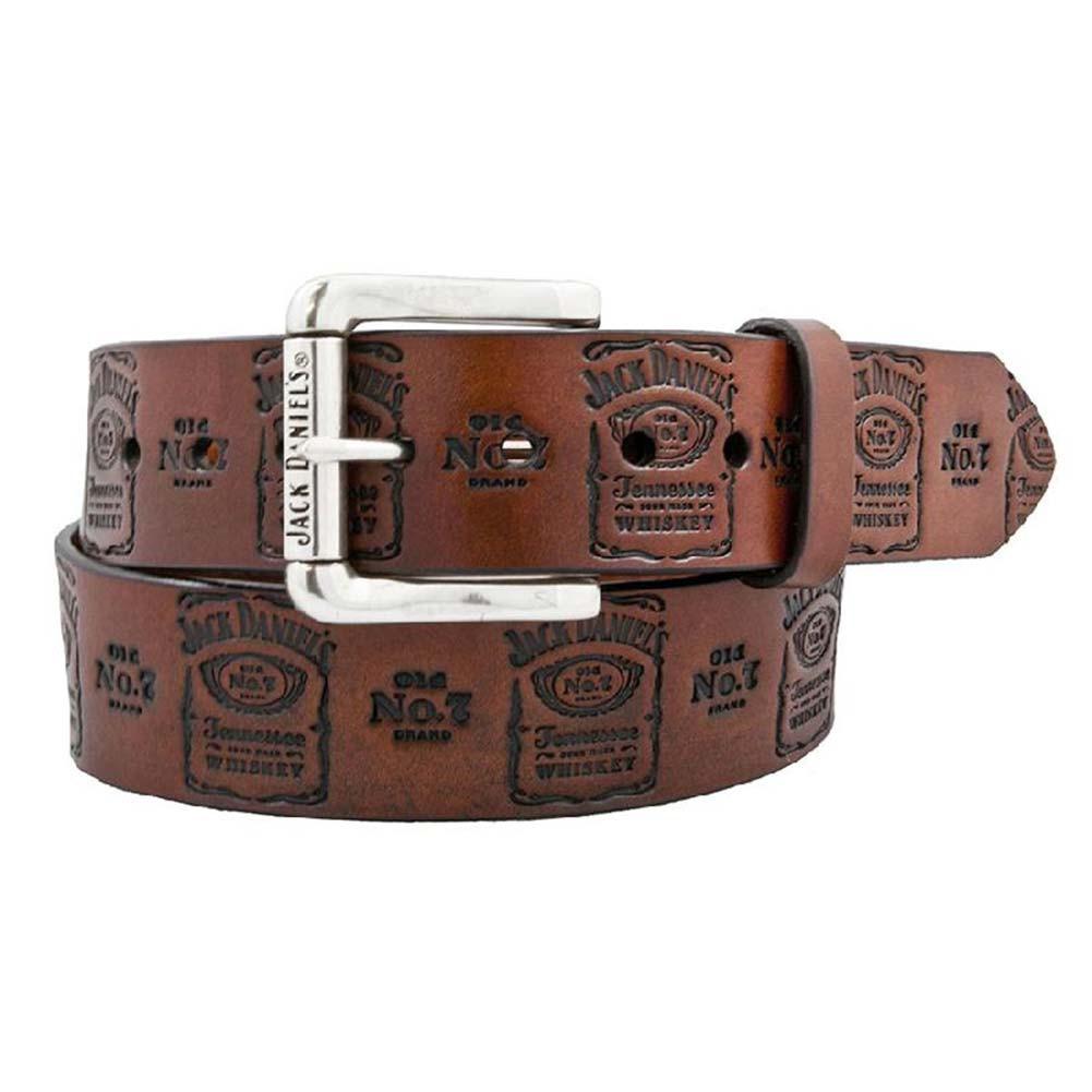 Jack Daniels Brown Leather Stamped Belt