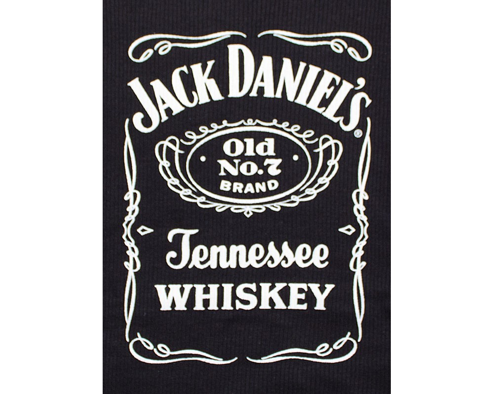 Jack Daniel's Whiskey Label Logo Black Ribbed Juniors Tank Top