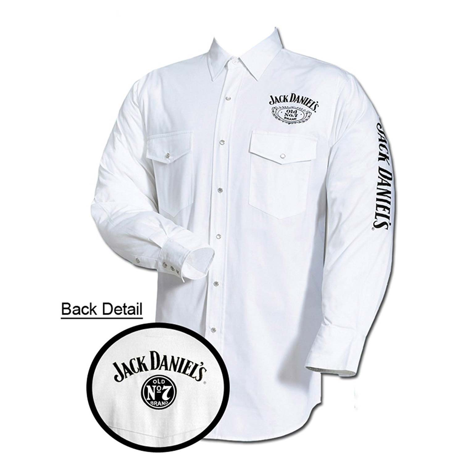 Jack Daniel's Embroidered Long Sleeve White Mens Button Down Shirt