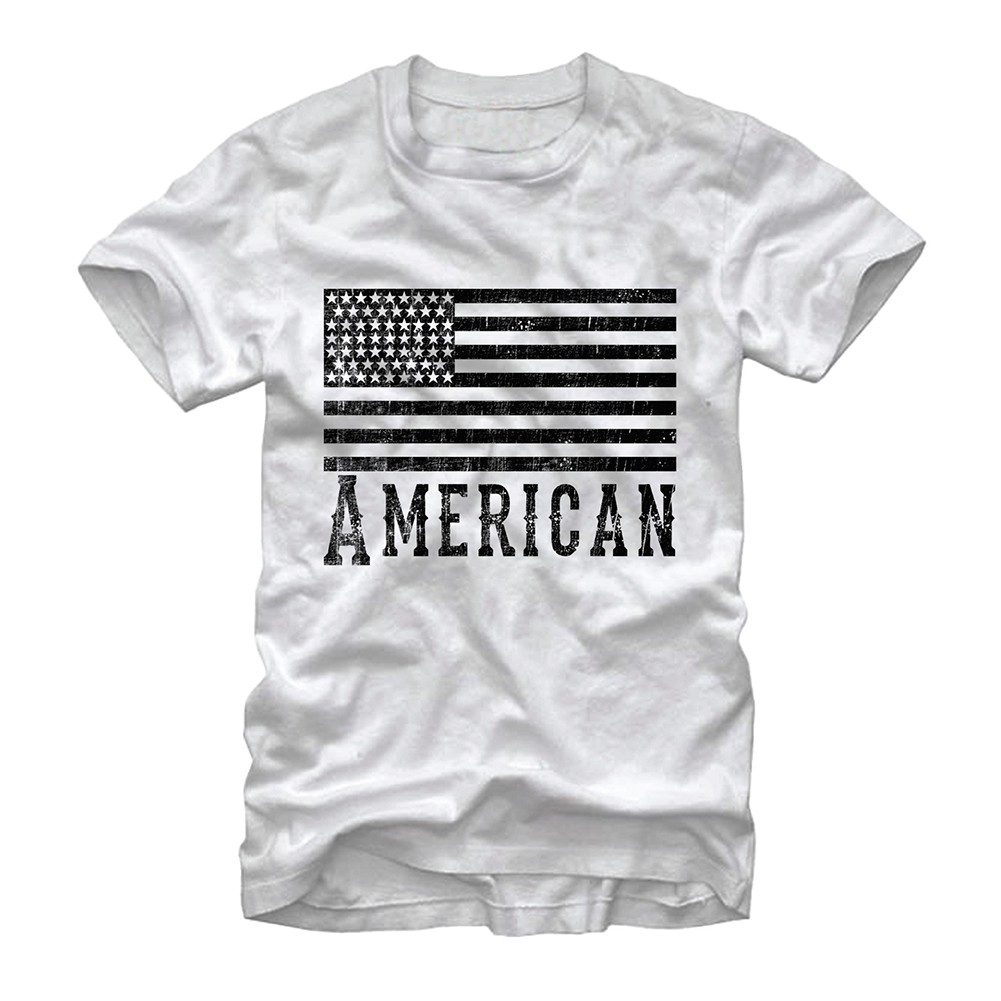 American Flag Monochrome Patriotic USA White T-Shirt