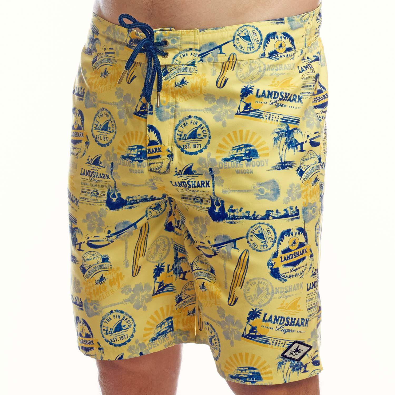 Landshark All-Over Logo Men's Yellow Boardshorts