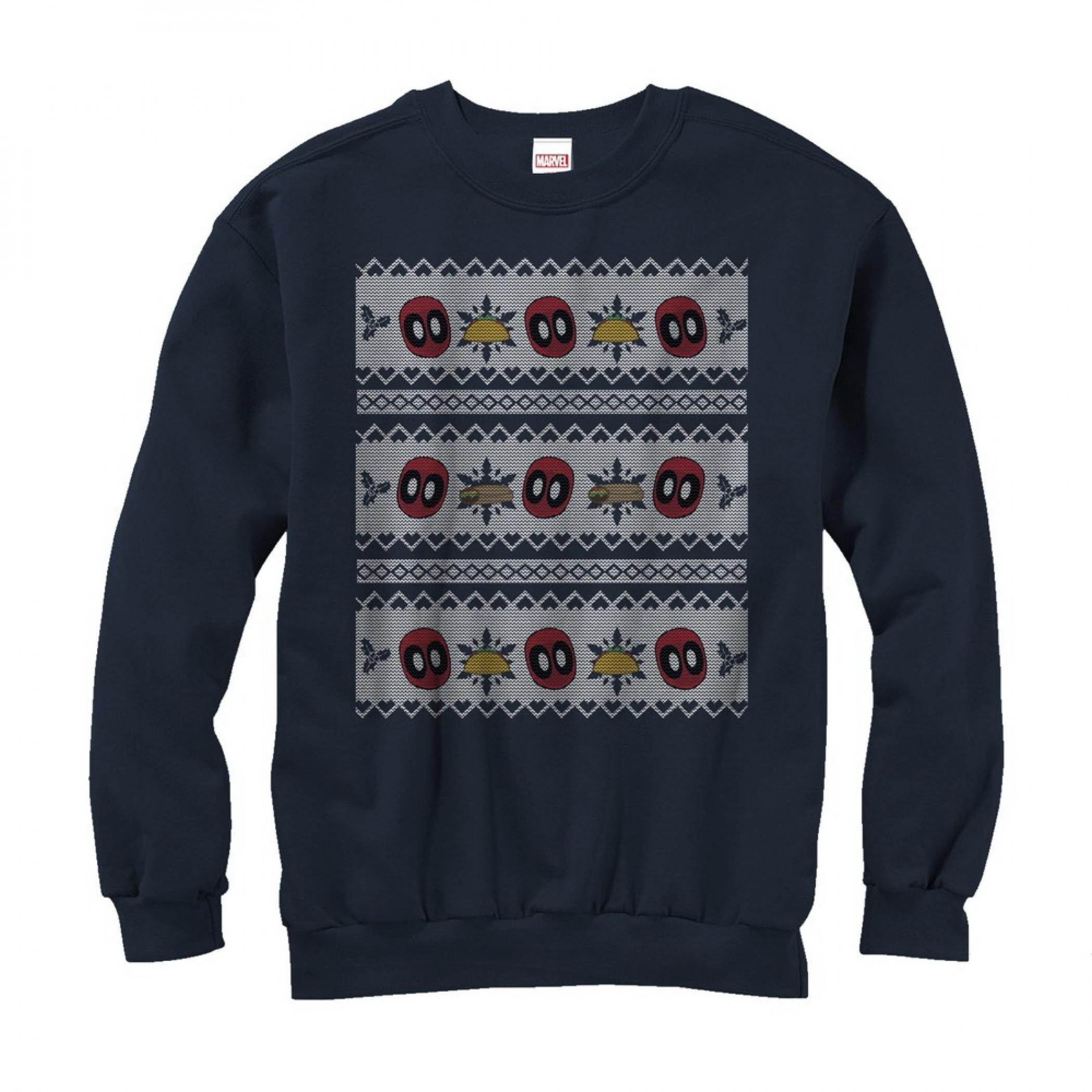 Deadpool Tacos Ugly Christmas Sweater Design Sweatshirt