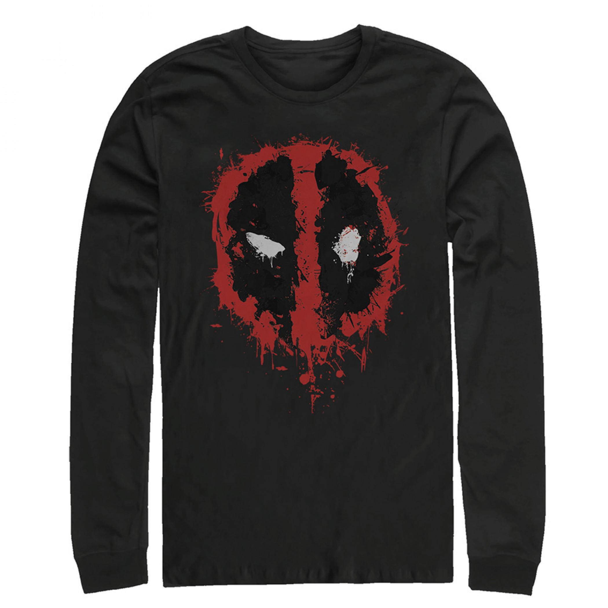 Deadpool Splatter Logo Long Sleeve Shirt