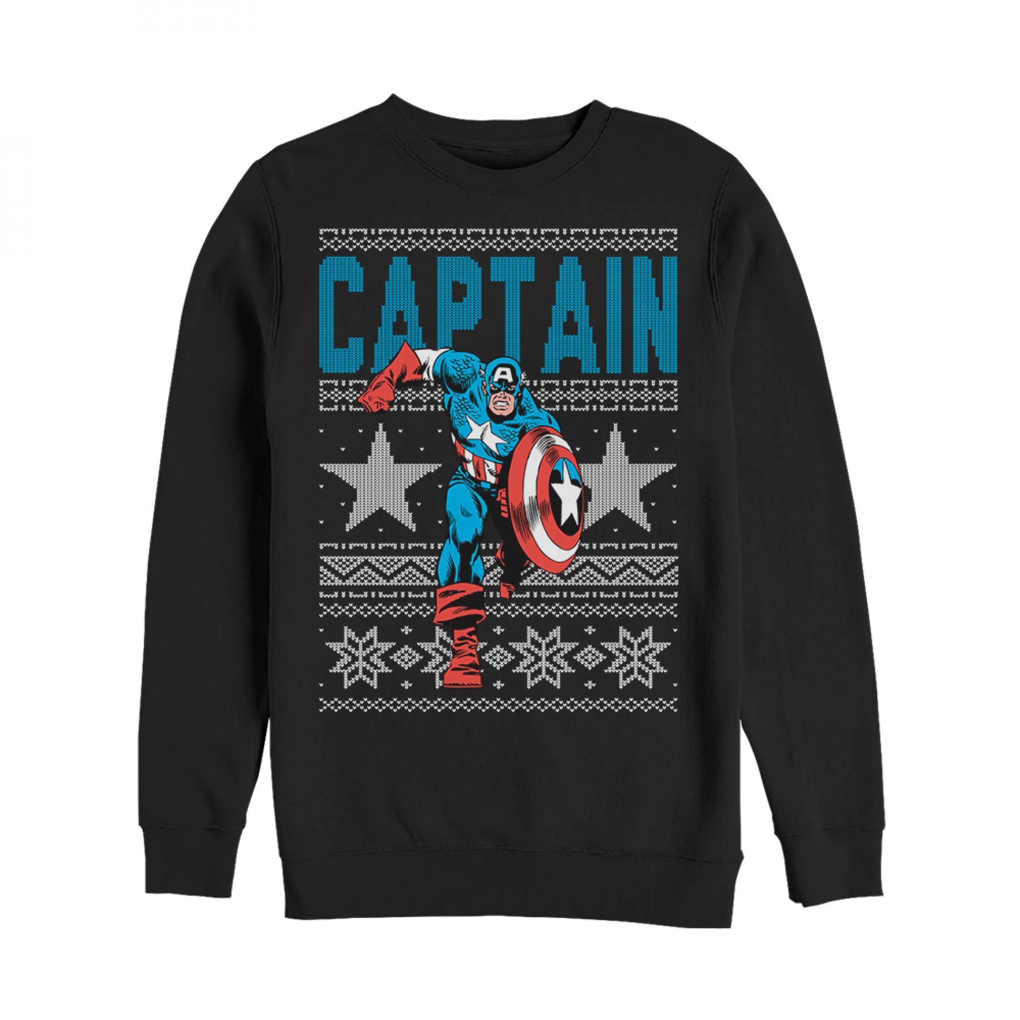Captain America Ugly Christmas Sweater Design Sweatshirt