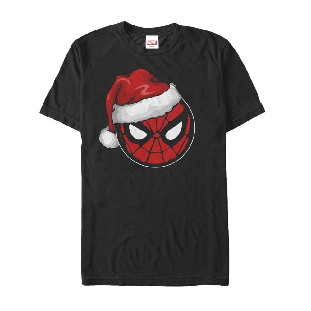 Spider-Man Santa Hat Men's Black T-Shirt