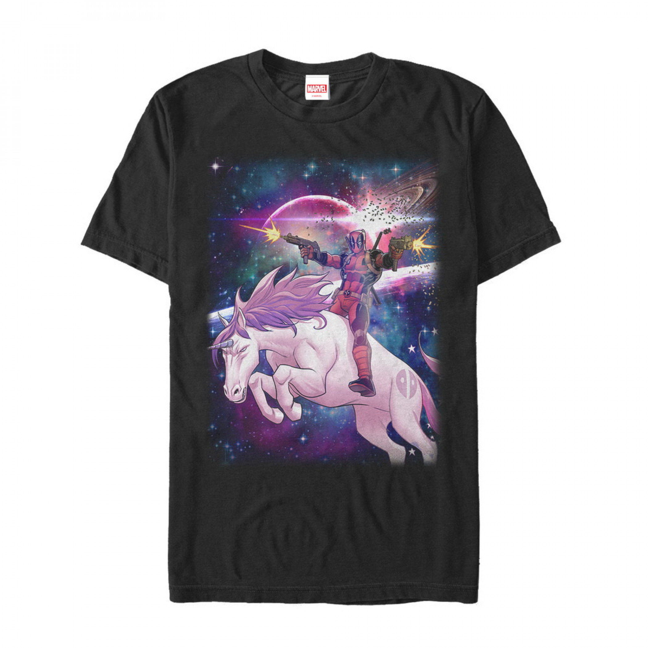 Marvel Legendary Deadpool on Space Unicorn Men's T-Shirt