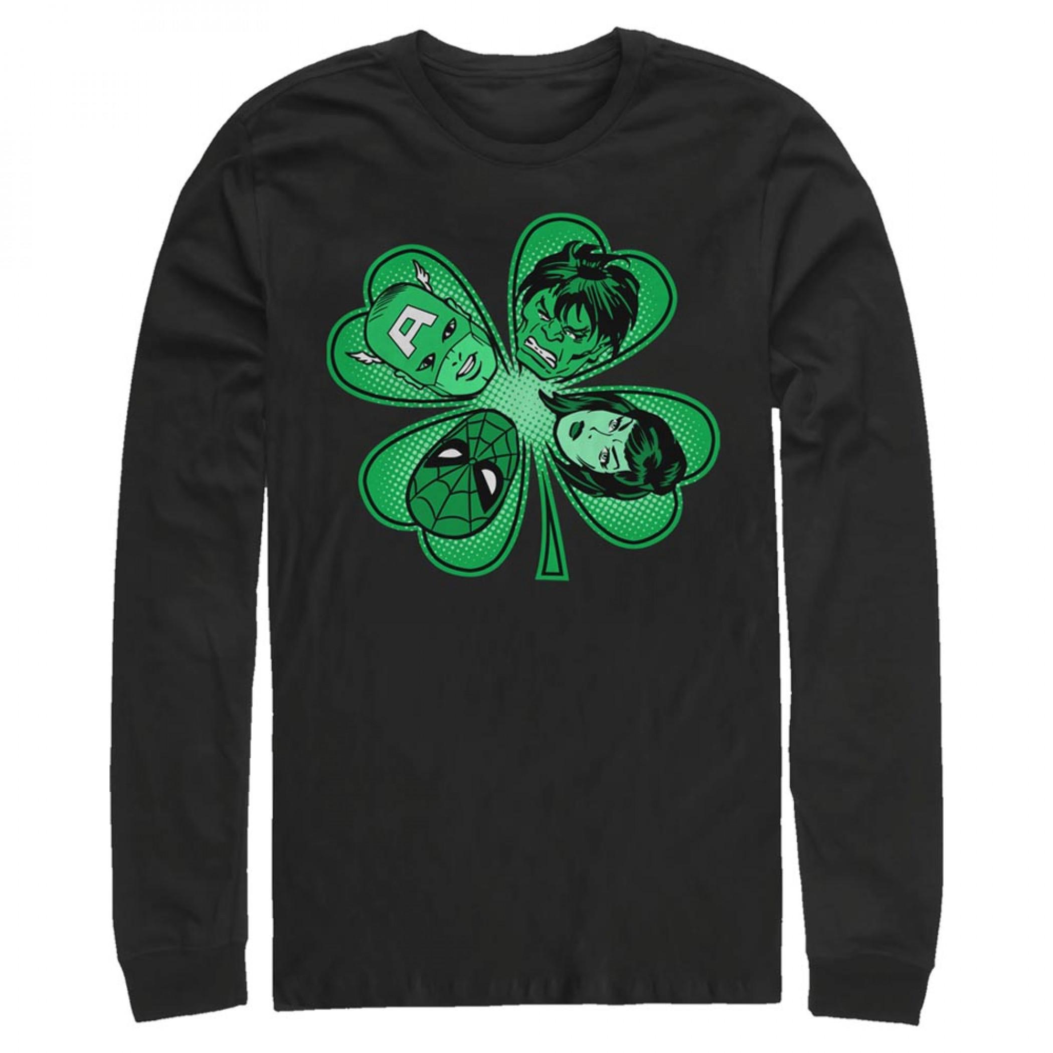 Avengers Heroes Shamrock Black Long Sleeve Shirt