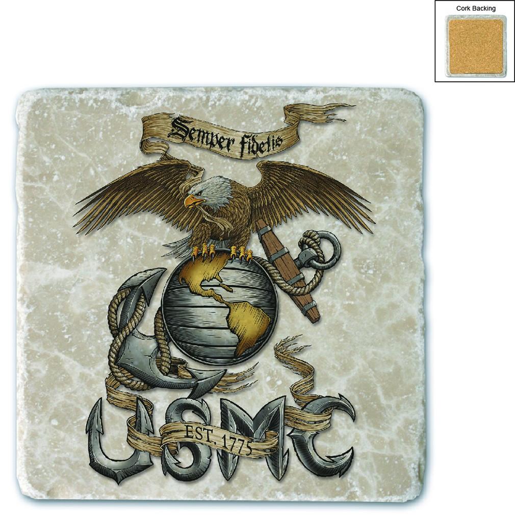 Marines Eagle USMC Stone Coaster