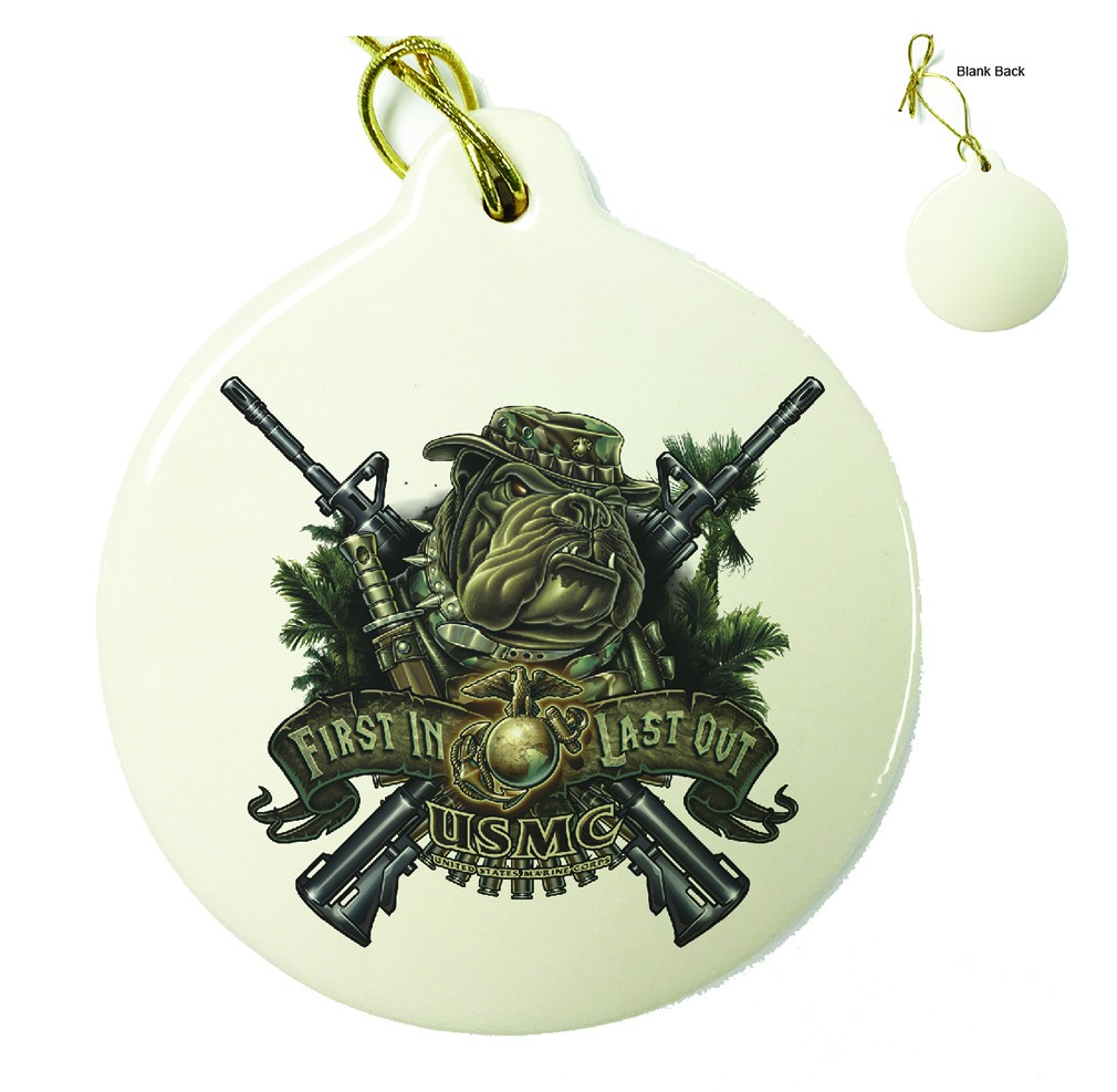 Marine Devil Dog First In Last Out Porcelain Ornament