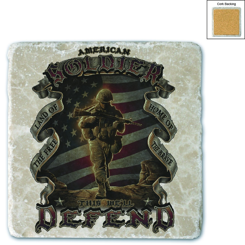 USA American Soldier Stone Coaster
