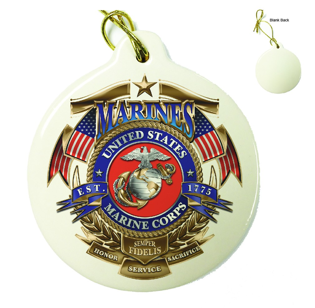 Marines USMC Badge Of Honor Porcelain Ornament