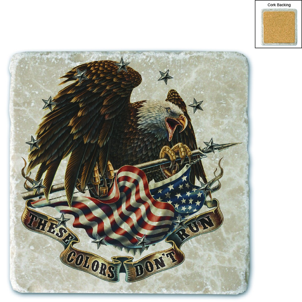USA Patriotic These Color Don't Run Stone Coaster