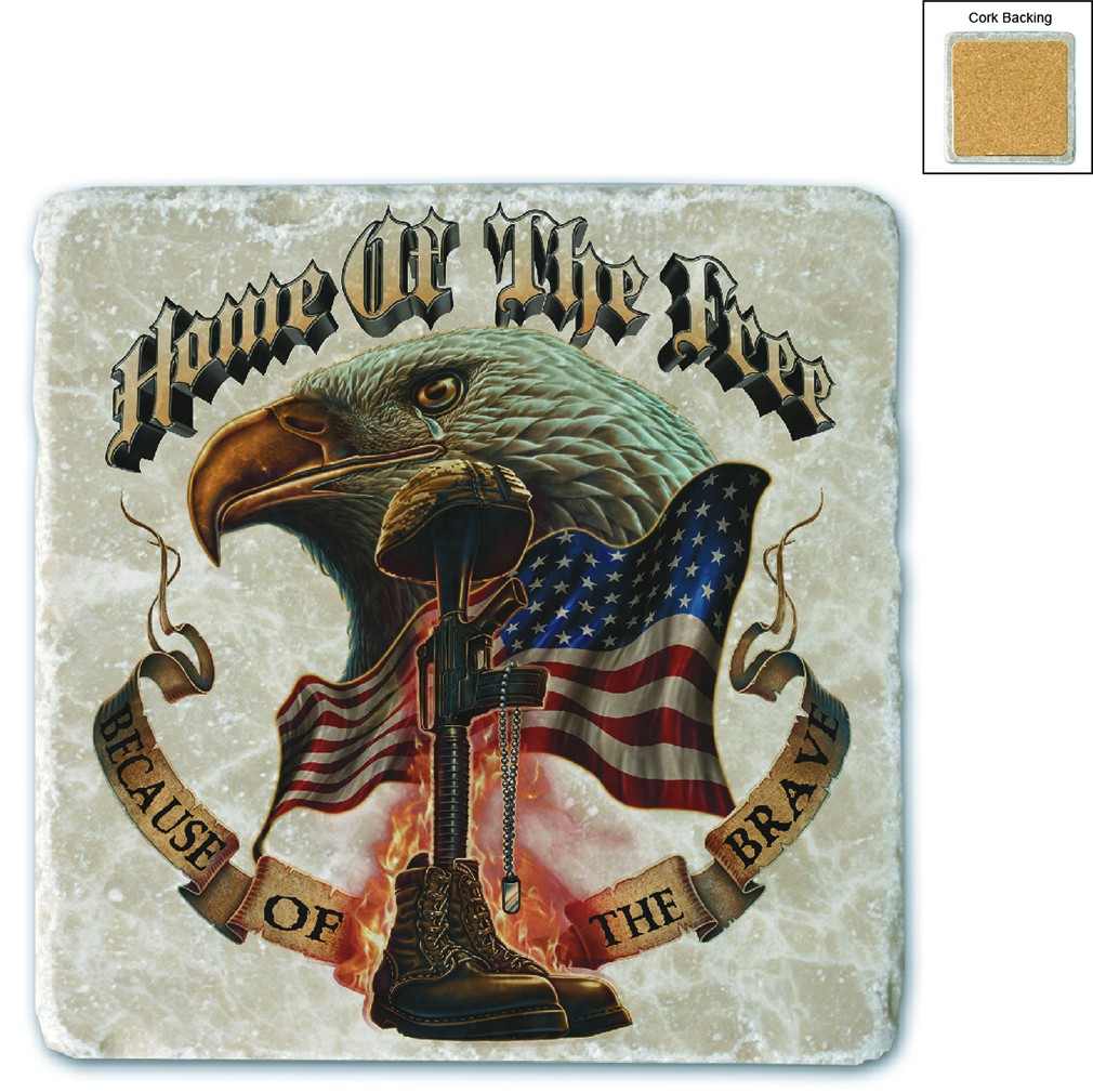 USA Patriotic Home Of The Free Because Of The Brave Stone Coaster