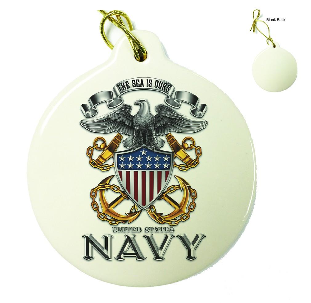 US Navy Full Print Eagle Porcelain Ornament