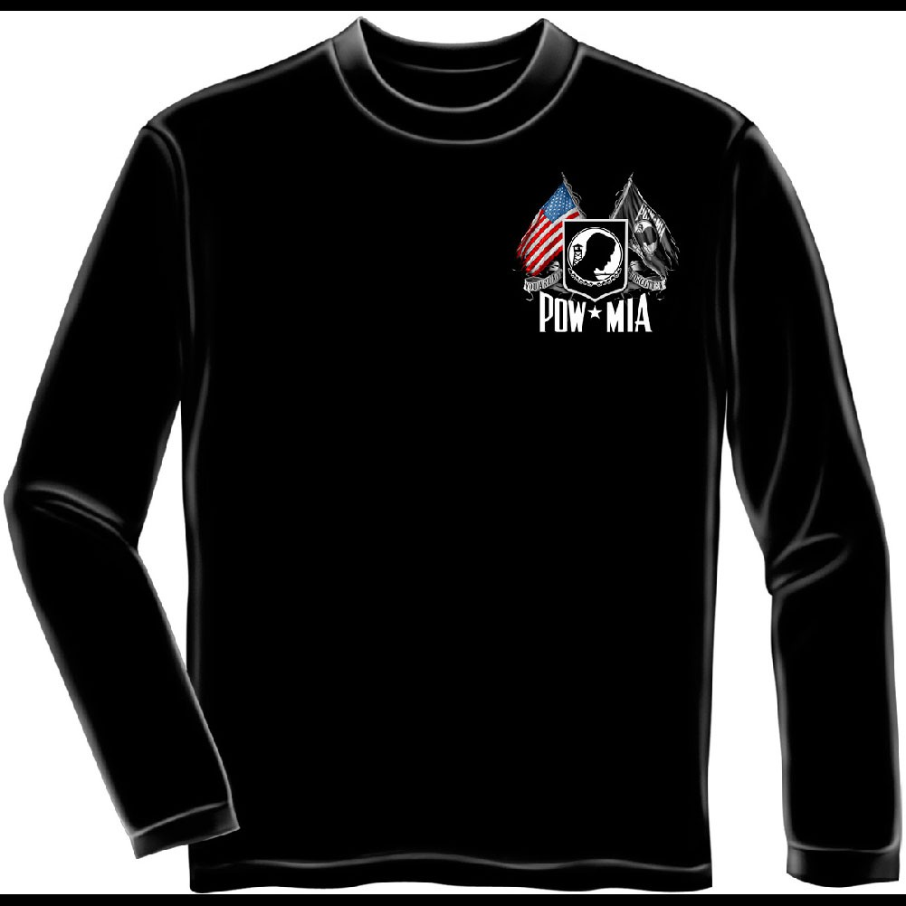 POW MIA Flags Black Long Sleeve T-Shirt