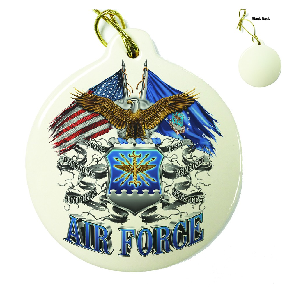 Double Flag Air Force Eagle Porcelain Ornament