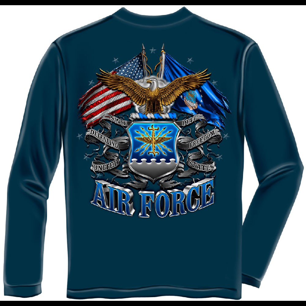 US Air Force Flags Blue Long Sleeve T-Shirt