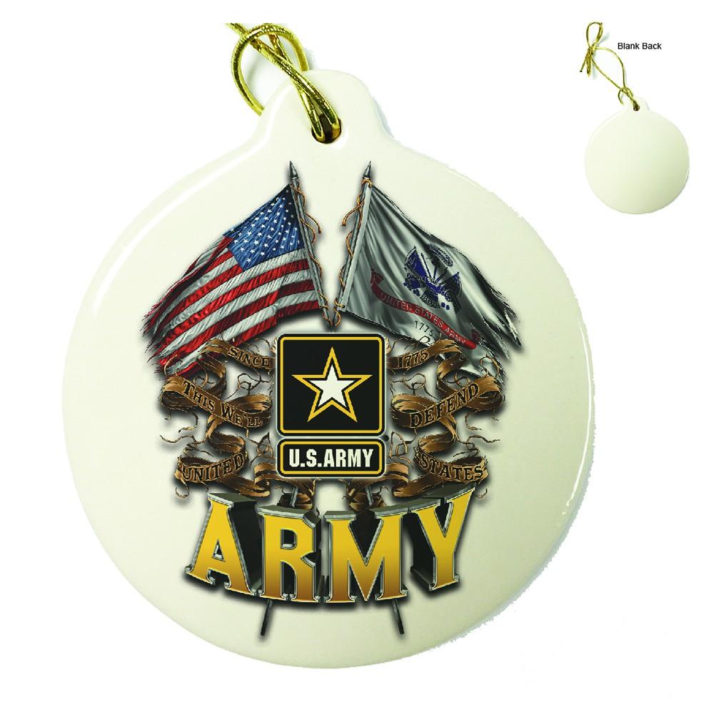 US Army Double Flag Porcelain Ornament