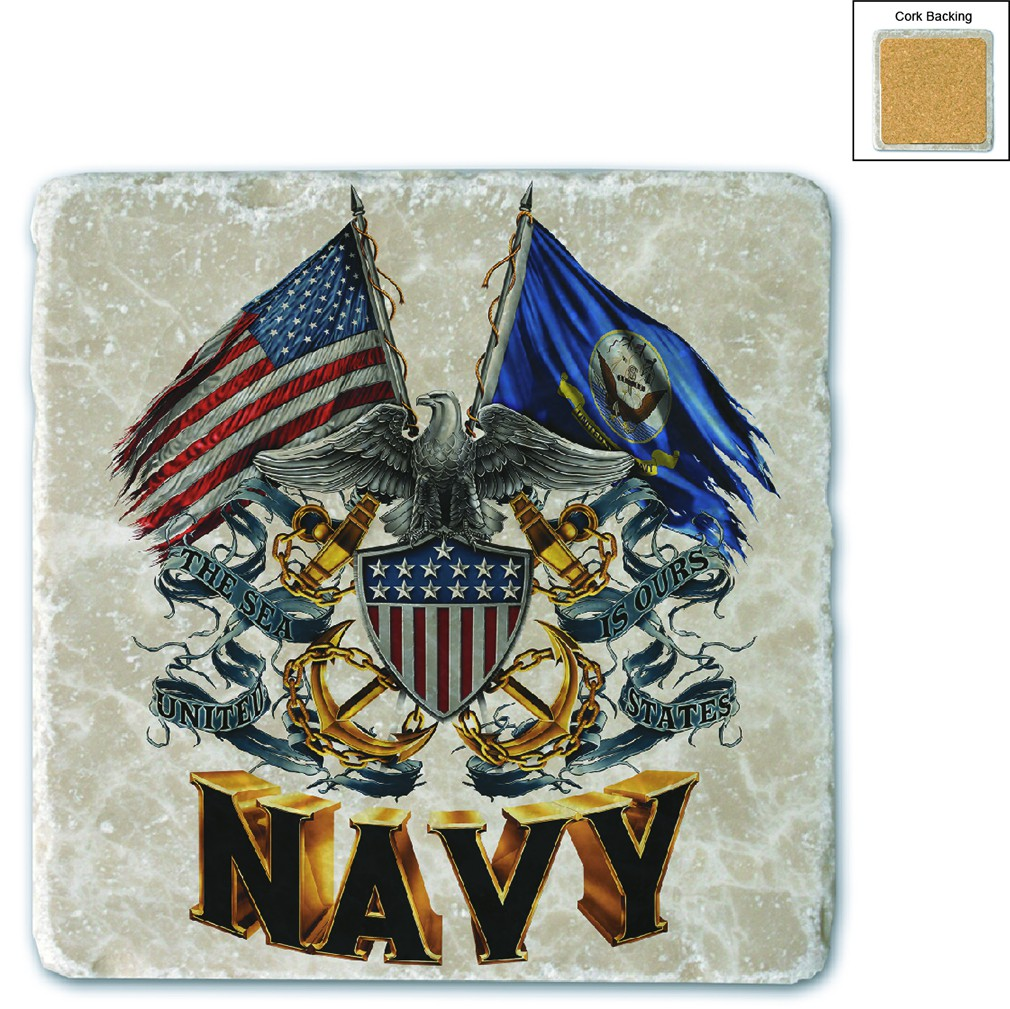 US Navy Double Flag Shield Stone Coaster