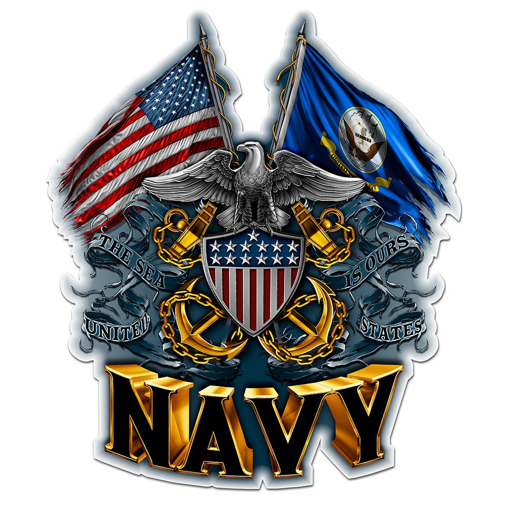 US Navy Double Flag Decal Sticker