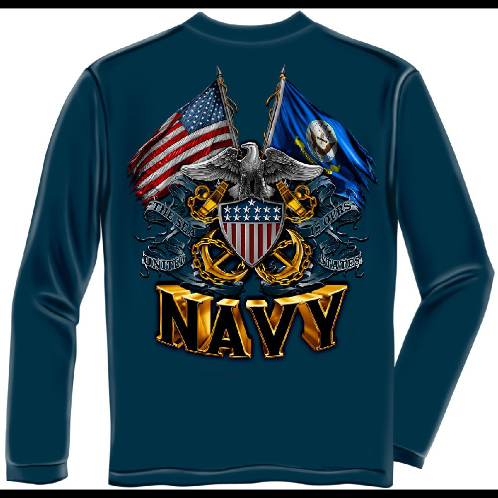 US Navy Flags Blue Long Sleeve T-Shirt