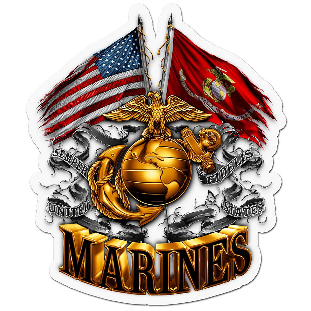 US Marines Double Flag Decal Sticker