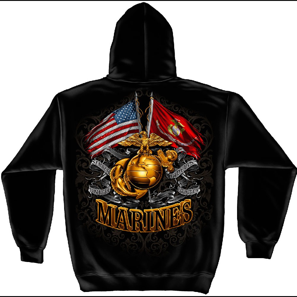 US Marines Double Flag Black Hoodie