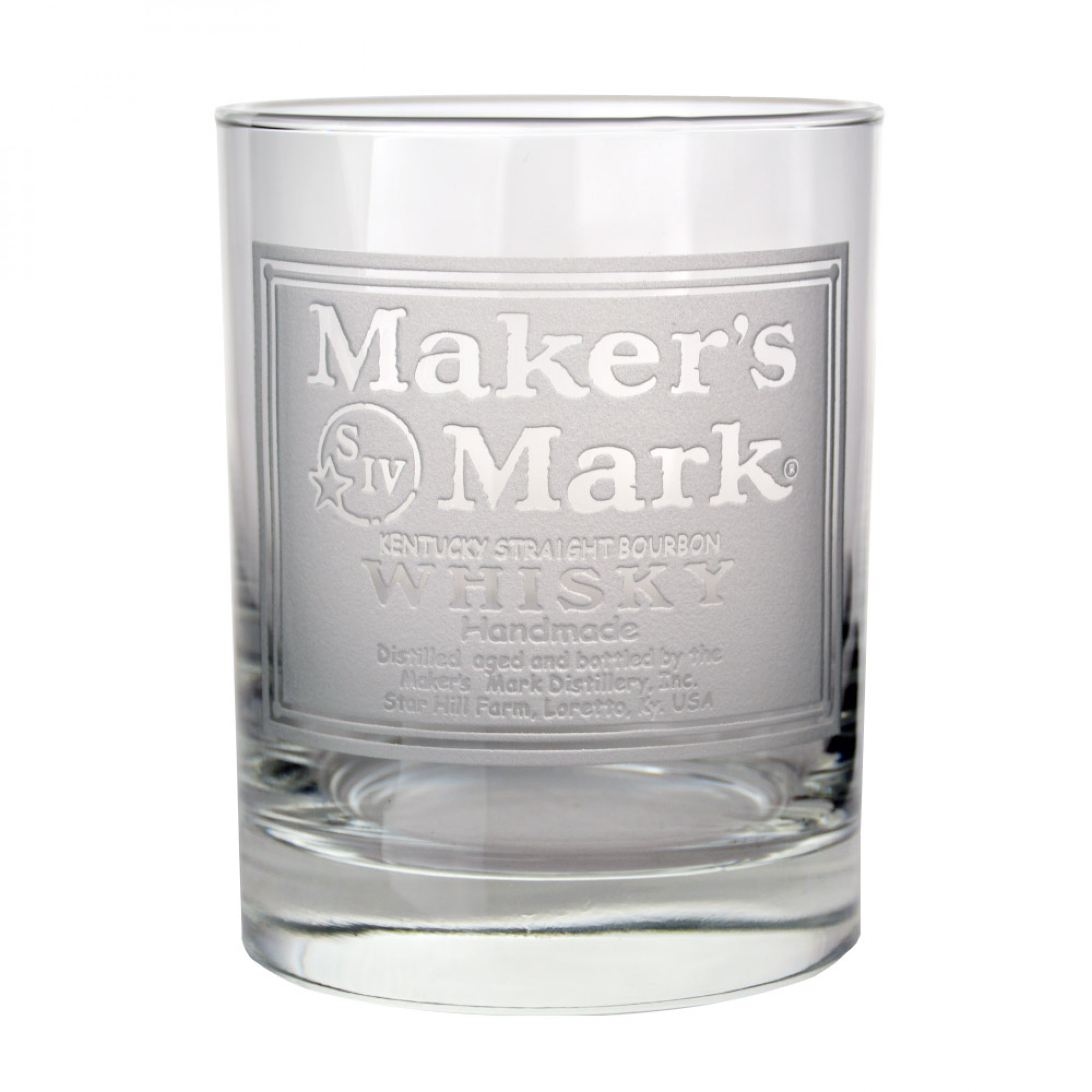Maker's Mark Whisky Label Etched Rocks Glass