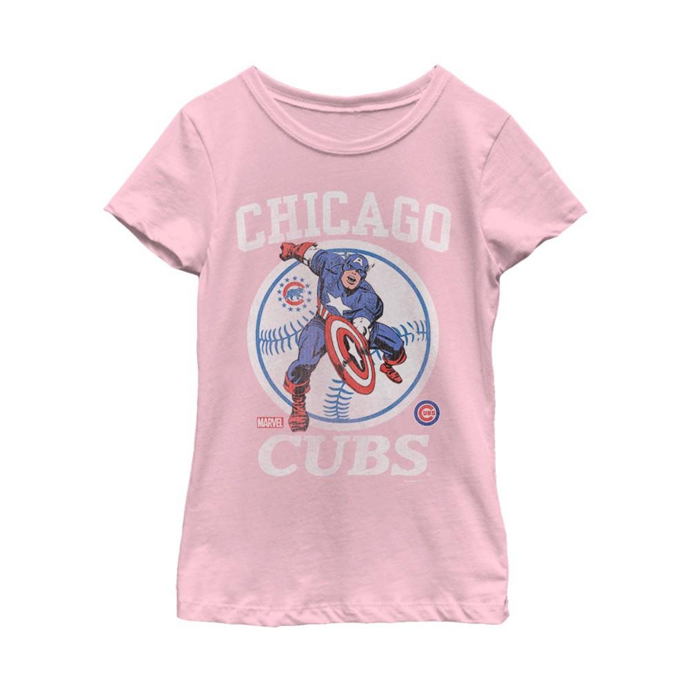 Captain America Chicago Cubs Women's Pink T-Shirt