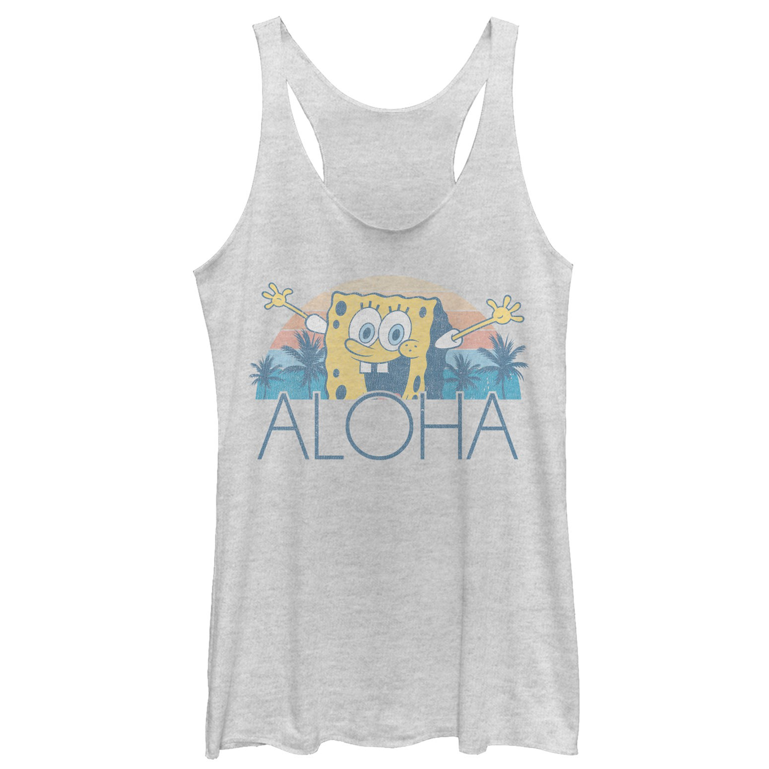 SpongeBob Squarepants Aloha Ladies Grey Racerback Tank Top