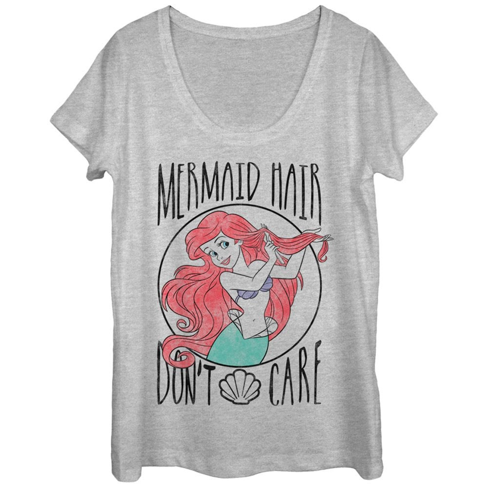 Little Mermaid Hair Don't Care Ladies Grey Scoop Neck Tee Shirt
