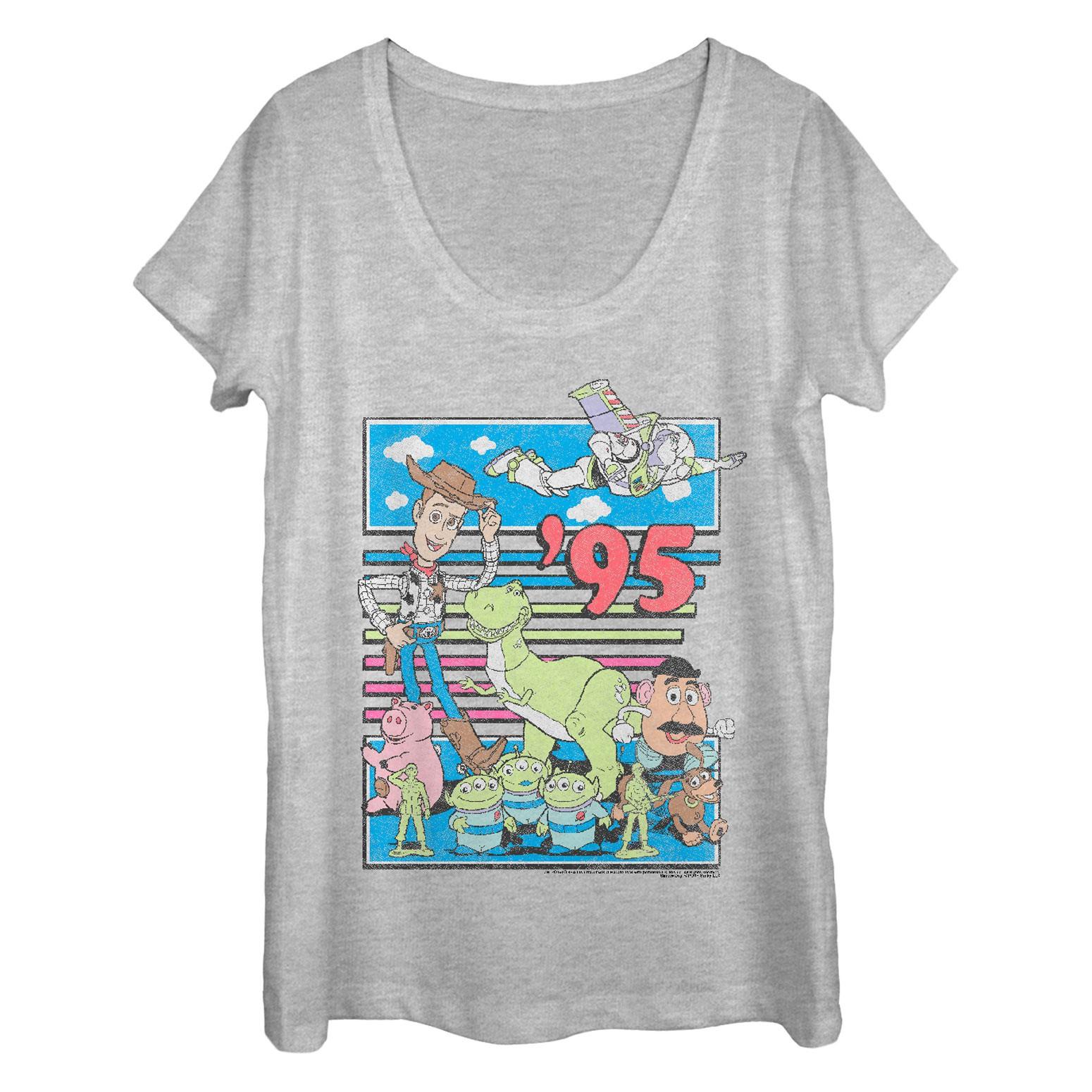 Toy Story '95 Ladies Grey Scoop Neck Tee Shirt