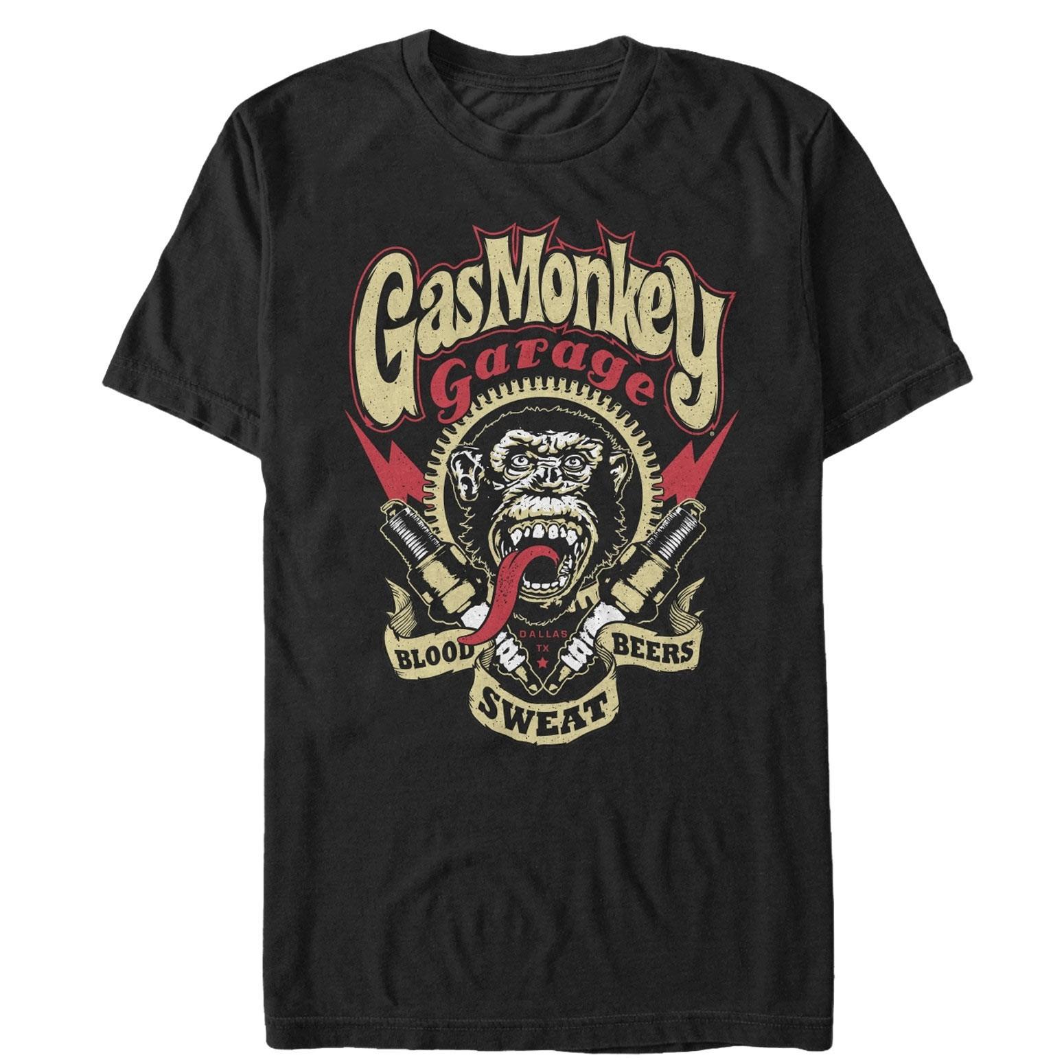 Gas Monkey Blood Sweat Beers Black Tee Shirt