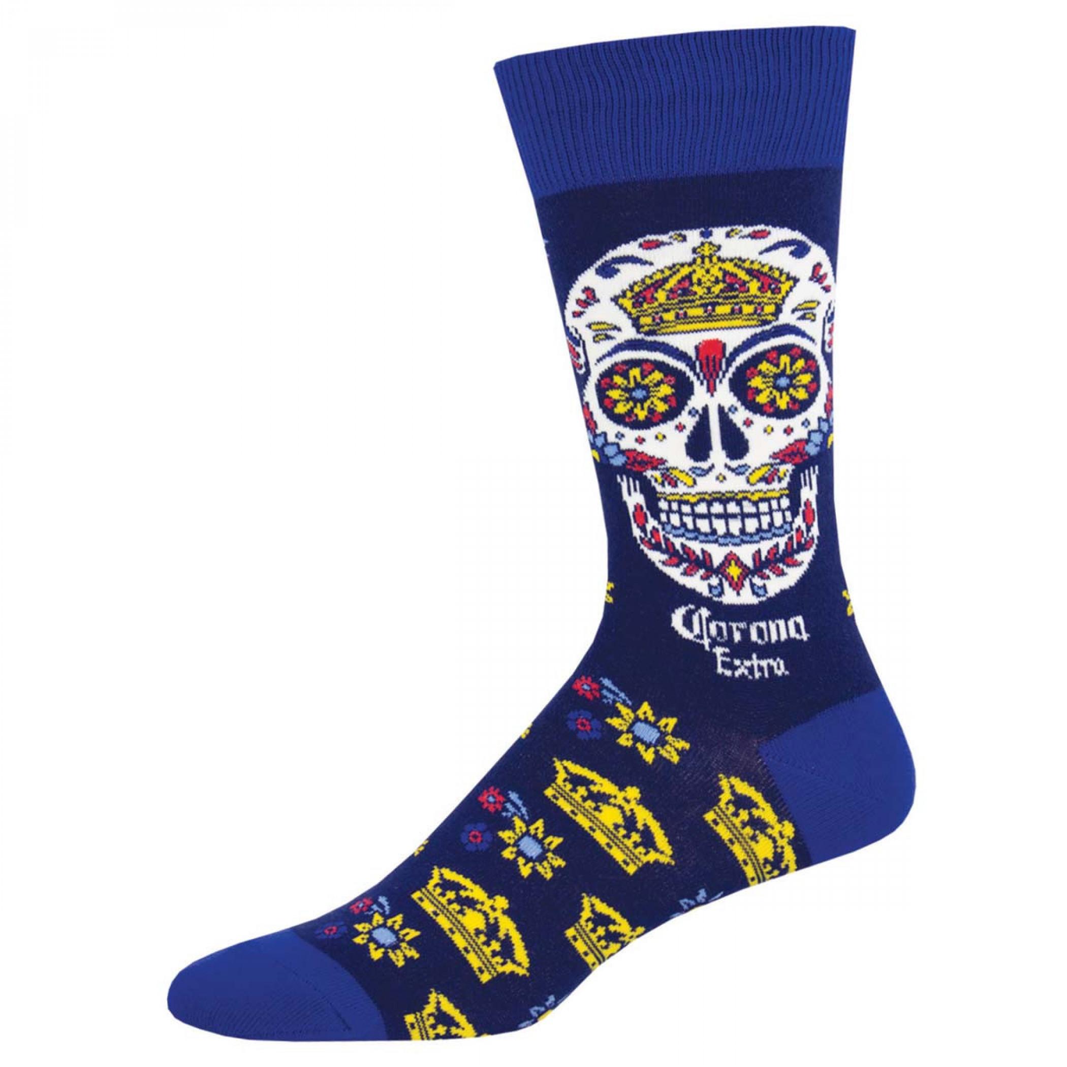 Corona Beer Blue Sugar Skull Socks
