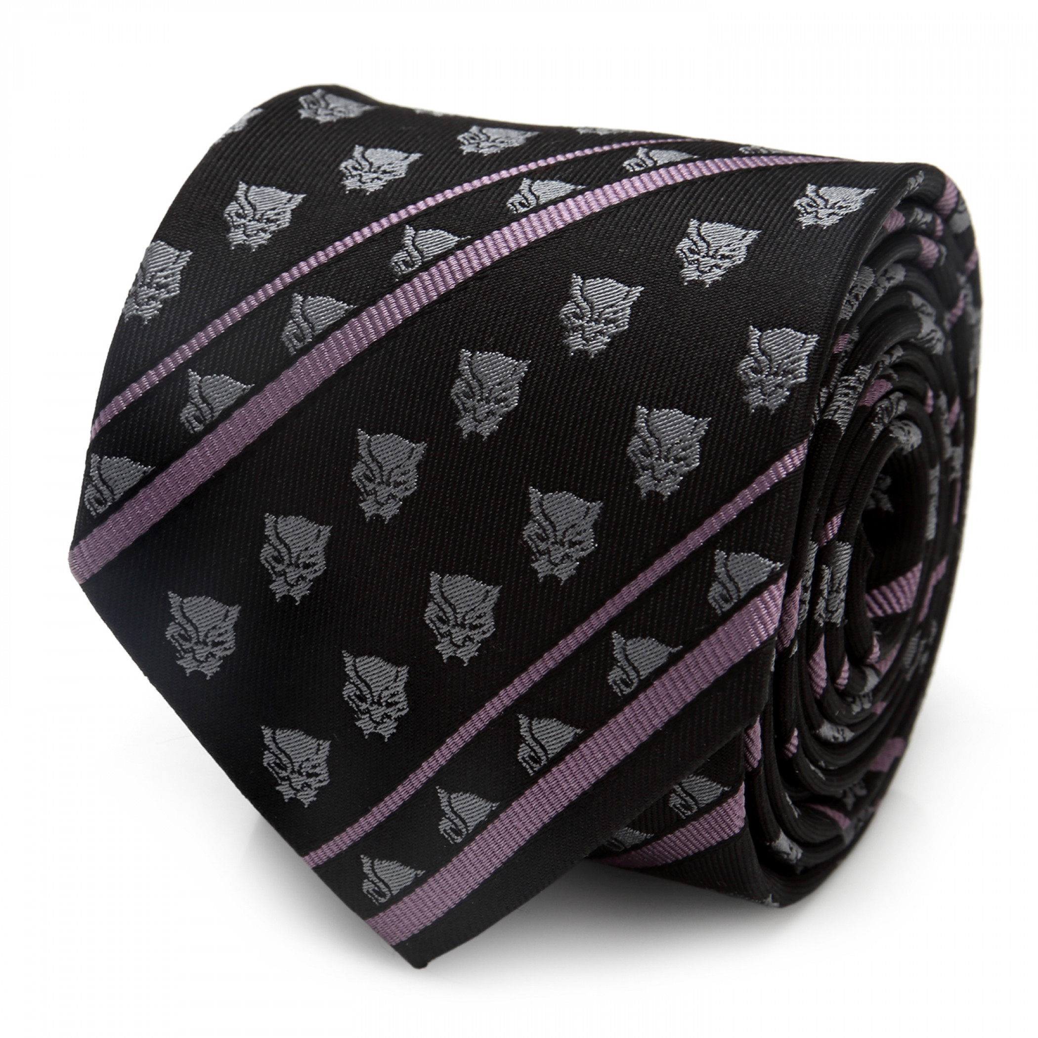 Black Panther Black and Purple Icons Silk Tie