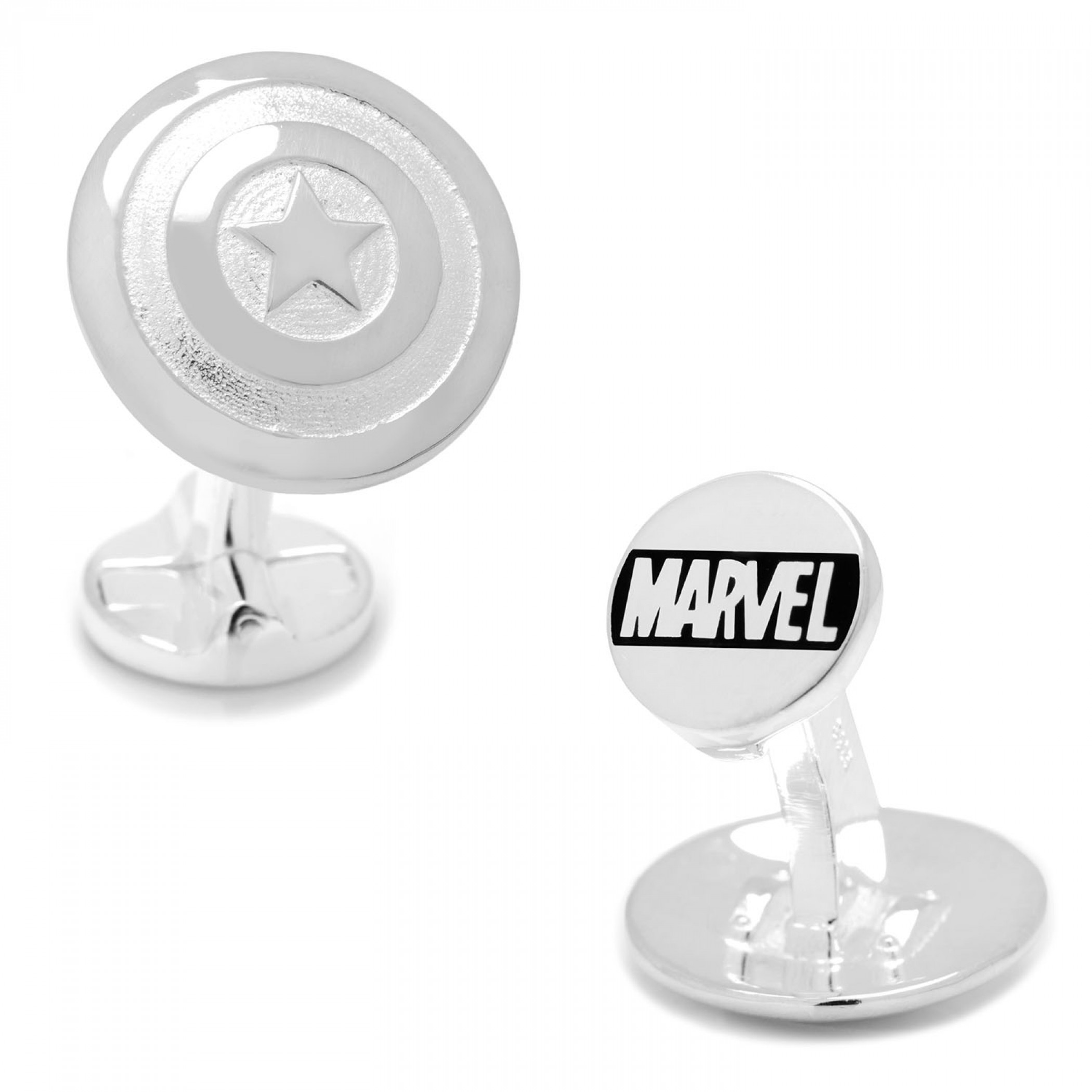Captain America Shield 3D Sterling Silver Cufflinks
