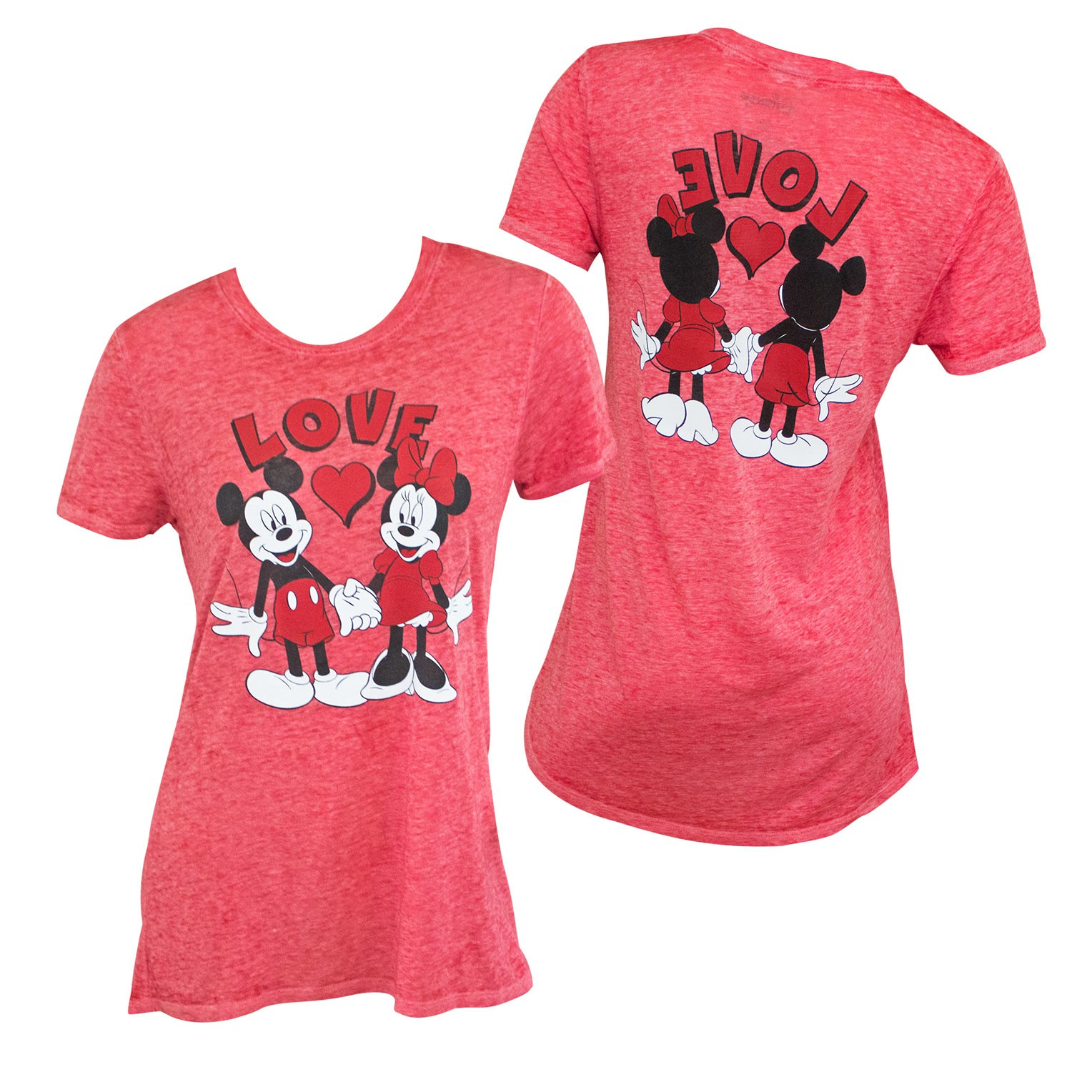 Mickey And Minnie Mouse Love Front Back Women's Red T-Shirt