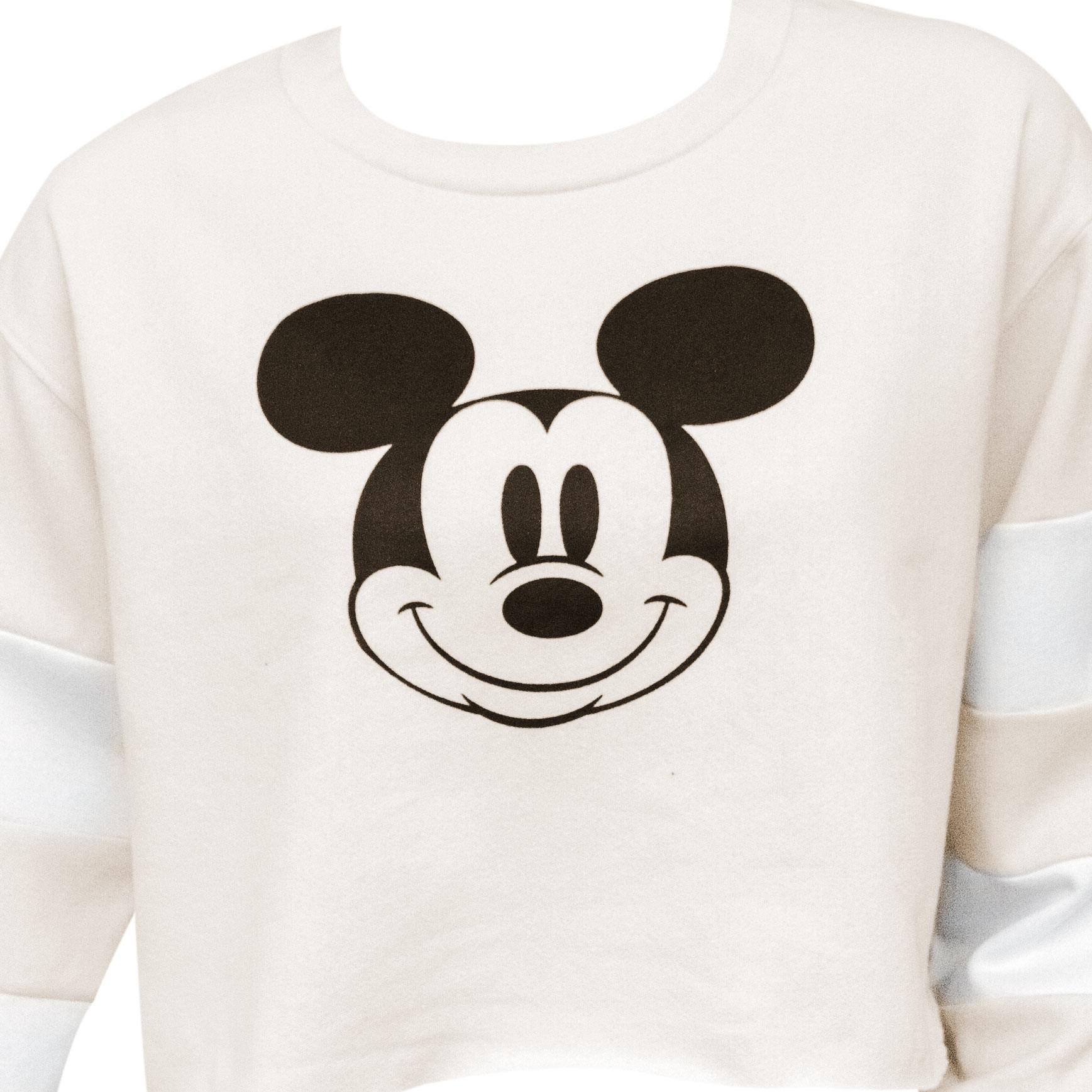 Mickey Mouse Cropped Hockey Off White Women's Sweatshirt
