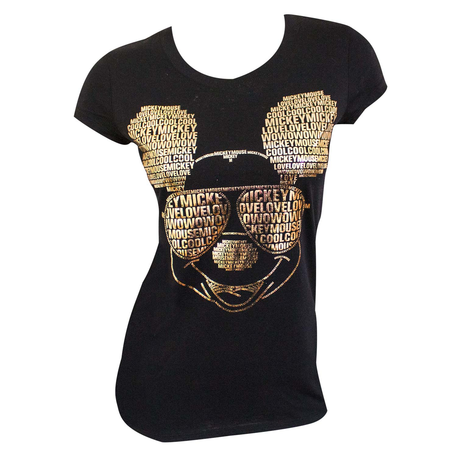 Mickey Mouse Gold Foil Ladies Black Tee Shirt