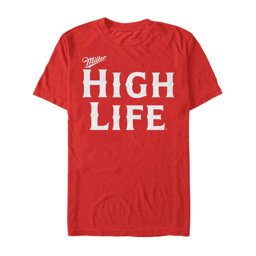 Miller High Life Beer Text Logo Men's Red T-Shirt