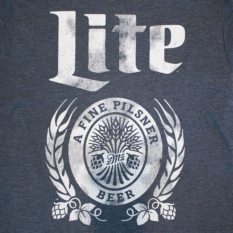 Miller Lite Distressed Logo Navy Blue T-Shirt